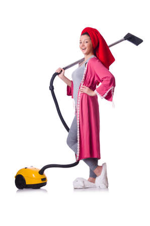 Woman working with vacuum cleaner on white Stock Photo - 19512652