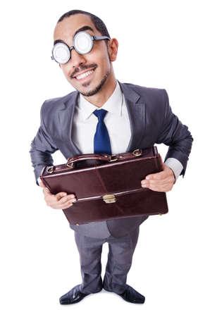 Funny nerd businessman isolated on white Stock Photo - 19513259