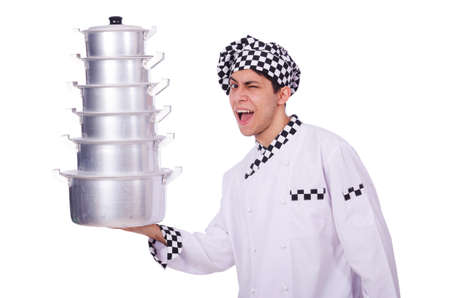 Cook with stack of pots on white Stock Photo - 19512854