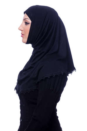 Muslim young woman wearing hijab on white Stock Photo - 19513283