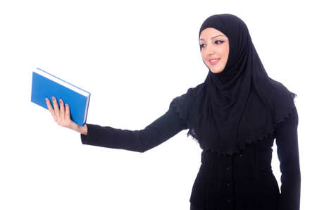 Young muslim woman with book on white Stock Photo - 19512835