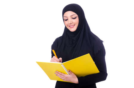 Young muslim woman with book on white Stock Photo - 19512786