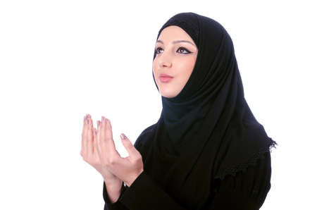 burqa: Muslim young woman wearing hijab on white