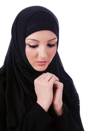 niqab: Muslim young woman wearing hijab on white