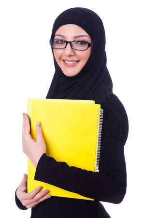 Young muslim woman with book on white Stock Photo - 19513327