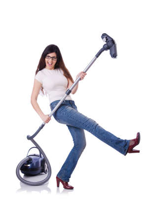 Young woman with vacuum cleaner on white Stock Photo - 19512777
