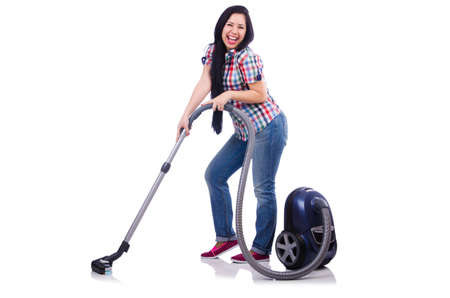 Young woman with vacuum cleaner on white Stock Photo - 19512709