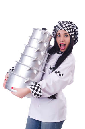 Cook with stack of pots on white Stock Photo - 19513145
