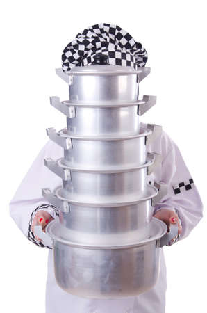 Cook with stack of pots on white Stock Photo - 19438449