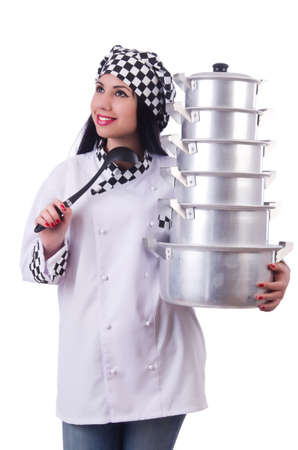 Cook with stack of pots on white Stock Photo - 19513186