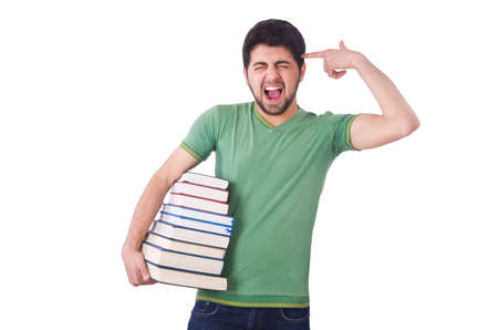 Student with lots of books on white Stock Photo - 19512819