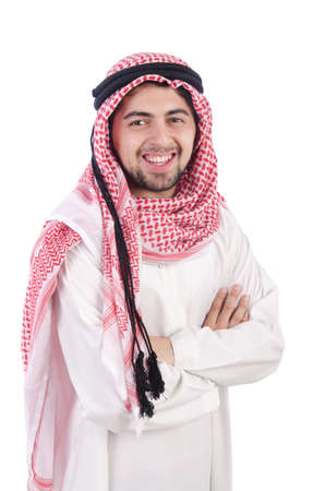 qameez: Young arab isolated on the white background