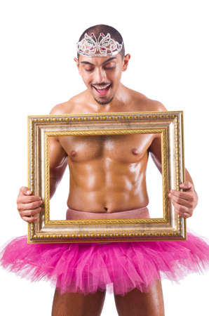 Man in pink tutu with picture frame photo