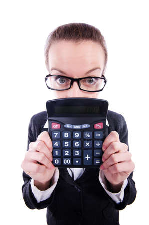 Nerd female accountant with calculator photo