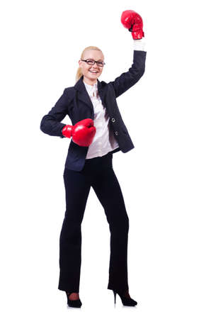 Woman businesswoman with boxing gloves on white Stock Photo - 19512468