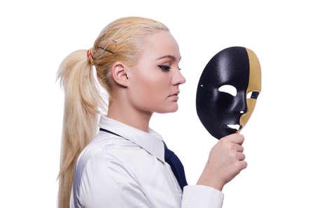 hipocresía: Mujer con la m?scara de hipocres?a en concepto