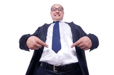 Funny businessman isolated on white Stock Photo - 19513068