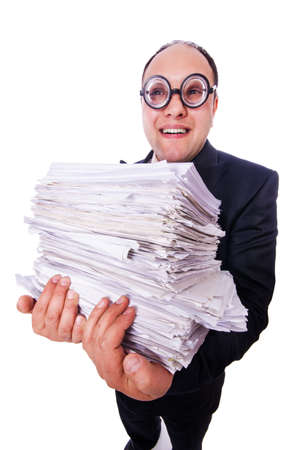 Funny man with lots of folders on white Stock Photo - 19636610