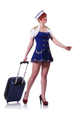 Woman travel attendant with suitcase on white Stock Photo - 19636598