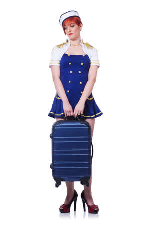 Woman travel attendant with suitcase on white Stock Photo - 19636600