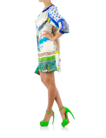 Woman in fashion dress concept on white Stock Photo - 19526600