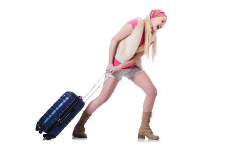 Young woman ready for summer vacation on white photo