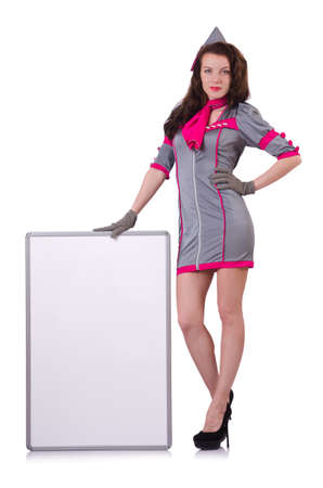 Stewardess with blank board on white Stock Photo - 19673120