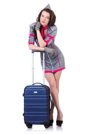 Woman travel attendant with suitcase on white Stock Photo - 19673938
