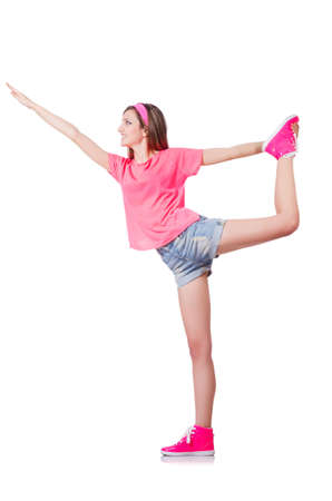 Young woman doing exercises on white photo