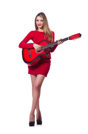 Guitar player woman isolated on white photo