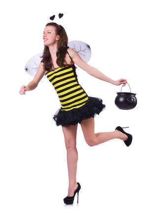 Woman in bee costume isolated on white photo