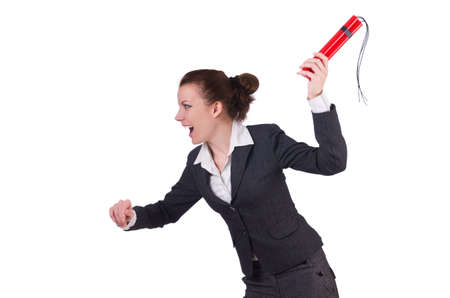 Businesswoman with dynamite on white Stock Photo - 19673110