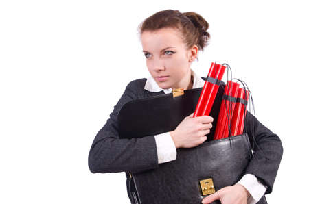 Businesswoman with dynamite on white photo