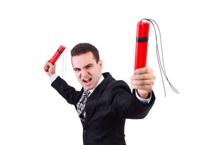 Businessman with dynamite isolated on white Stock Photo - 19642679