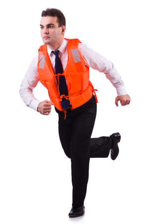 Businessman with rescue safety vest on white photo