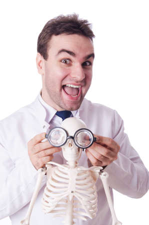 funny doctor: Funny doctor with skeleton isolated on white Stock Photo