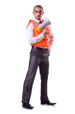 Man in life jacket isolated on white Stock Photo - 19642699