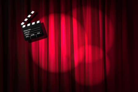 Movie clapper board against curtain Stock Photo - 19531490