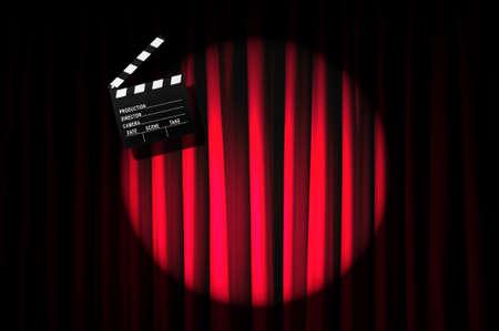 Movie clapper board against curtain Stock Photo - 19531484