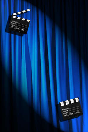 Movie clapper board against curtain Stock Photo - 19531510