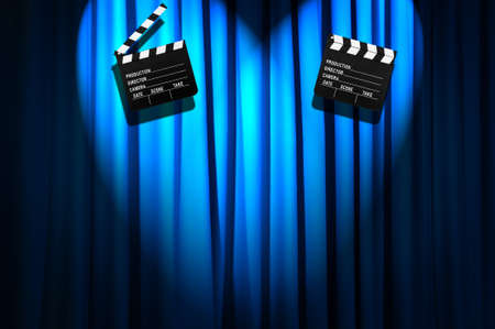 Movie clapper board against curtain Stock Photo - 19531509