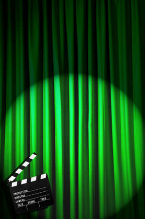 Movie clapper board against curtain Stock Photo - 19531516