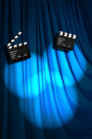 Movie clapper board against curtain Stock Photo - 19531503