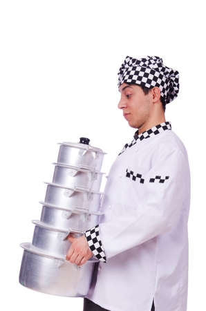 Cook with stack of pots on white Stock Photo - 19673974