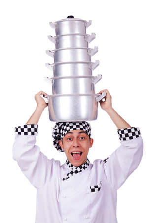 Cook with stack of pots on white Stock Photo - 19673928