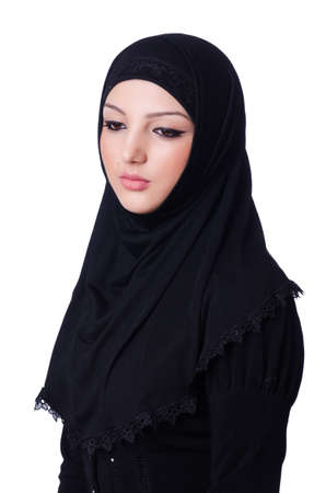 Muslim young woman wearing hijab on white Stock Photo - 19674873