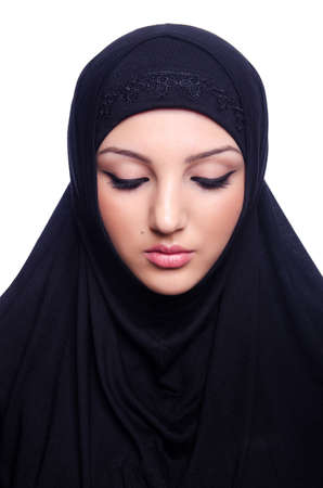 Muslim young woman wearing hijab on white Stock Photo - 19675189