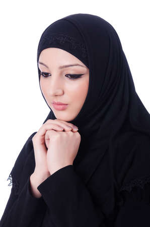 Muslim young woman wearing hijab on white Stock Photo - 19675172