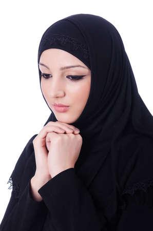 Muslim young woman wearing hijab on white Stock Photo - 19675172