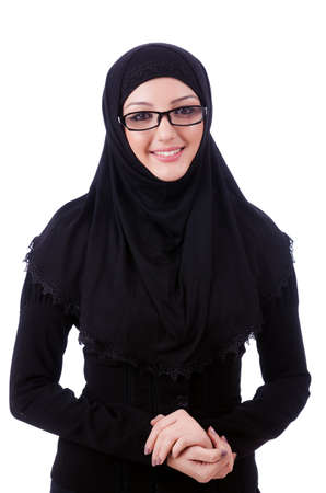 Muslim young woman wearing hijab on white photo